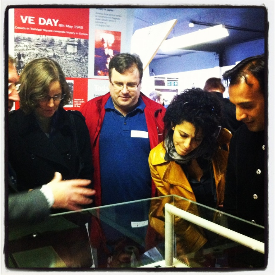 Megan Smith, Reid Hoffman, Julie Hanna and DJ Patil checking out the Turing exhibition at Bletchley Park