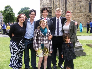 At my sons graduation in 2008 with my four children