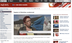 Me on the BBC News in 2008 saying we must save Bletchley Park