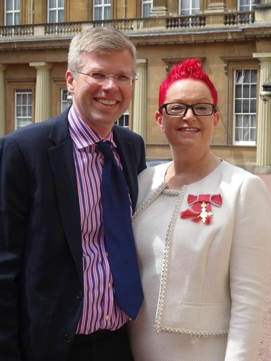 With my fiance after receiving my OBE at Buckingham Palace